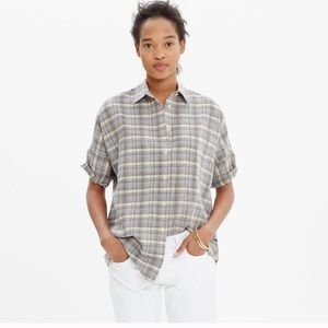 {Madewell} Courier Button Down Serene Plaid Boxy